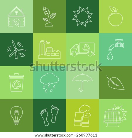 Flat line icons set of ecology and recycle - stock vector