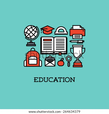 Flat line icons set of education. Creative design elements for websites, mobile apps and printed materials - stock vector