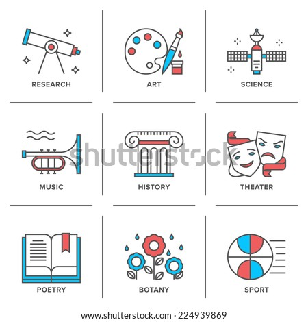 Flat line icons set of education main subjects, schooling symbol and learning elements, studying and educational objects. Modern trend design style vector concept. Isolated on white background. - stock vector
