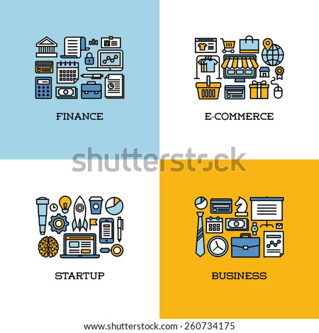 Flat line icons set of finance, e-commerce, startup, business. Creative design elements for websites - stock vector