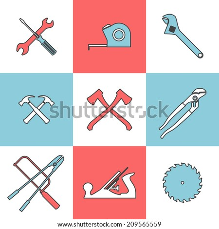Flat line icons set of hand tools axe saw hummer pliers wrench. Flat design style modern vector illustration - stock vector