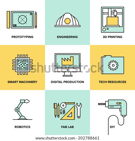 Flat line icons set of industrial technology and digital production, 3D modeling and prototype printing, robotics construction system. Modern design style vector illustration concept. - stock vector
