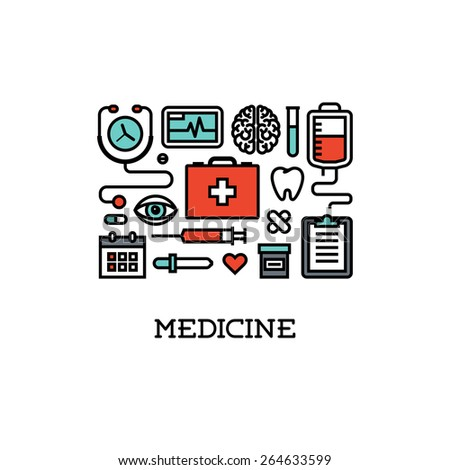 Flat line icons set of  medicine. Creative design elements for websites, mobile apps and printed materials - stock vector