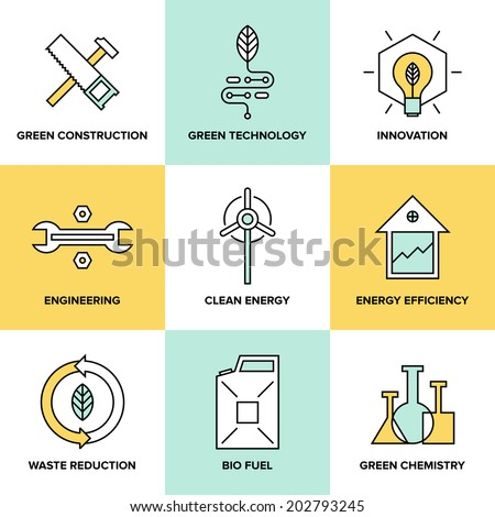Flat line icons set of natural renewable and clean energy, green technology innovation and chemistry, bio fuel and waste reduction efficiency. Modern design style vector illustration symbol collection - stock vector