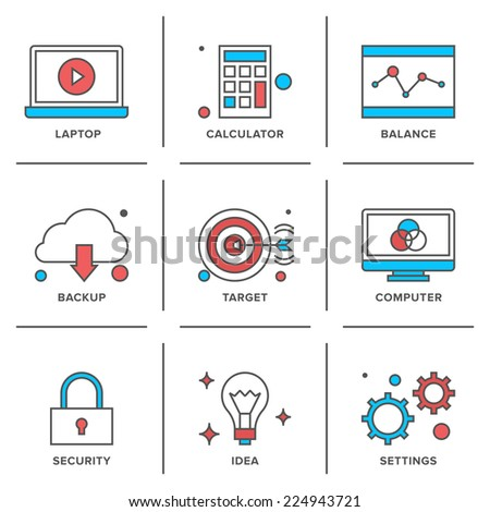 Flat line icons set of office laptop computer, business items, success ideas, security elements, marketing strategy. Modern trend design style vector concept. Isolated on white background. - stock vector