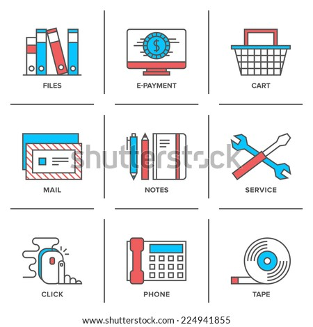 Flat line icons set of office routine objects, online shopping items, business desk supplies, service tools and equipment. Modern trend design style vector concept. Isolated on white background. - stock vector