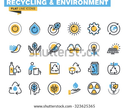 Flat line icons set of recycling theme, waste management , green energy and technology, biodegradable materials, environment. Vector concept for graphic and web design.   - stock vector