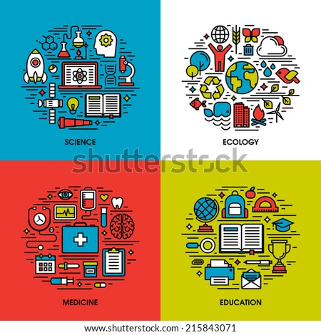 Flat line icons set of science, ecology, medicine, education. Creative design elements for websites, mobile apps and printed materials - stock vector