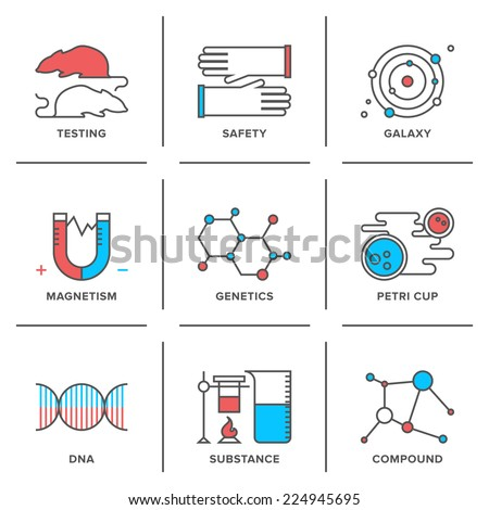 Flat line icons set of science research, genetics evolution experiment, DNA molecular structure, laboratory protection, scientific testing. Modern trend design style vector concept.  - stock vector