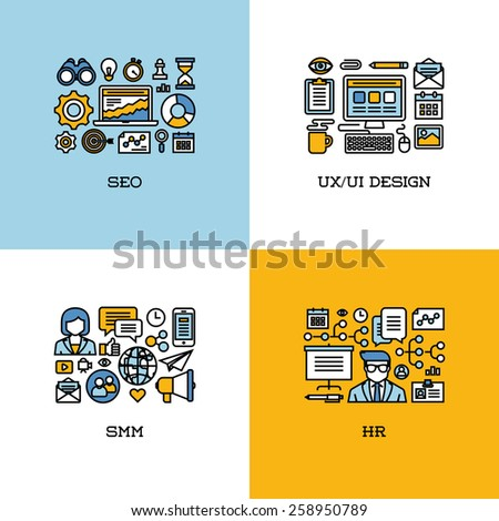 Flat line icons set of SEO, UI and UX design, SMM, HR - stock vector