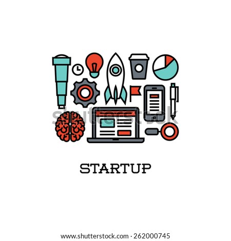 Flat line icons set of startup. Creative design elements for websites, mobile apps and printed materials - stock vector