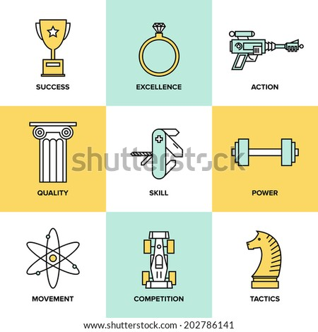 Flat line icons set of success business development, planning process elements, product and service quality, strategy performance. Modern design style vector illustration concept. - stock vector