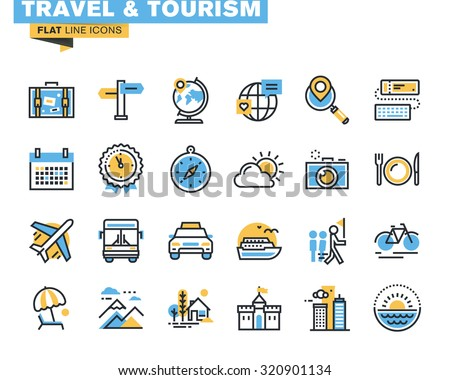 Flat Line Icons Set Of Travel And Tourism Sign Object Holiday Trip Planning