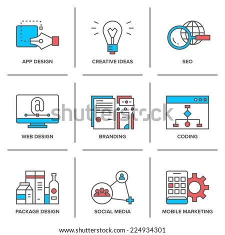 Flat line icons set of web development, creative ideas, mobile marketing, website coding, seo optimization, business company branding. Modern trend design vector concept. Isolated on white background. - stock vector