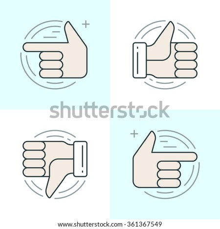 Flat line icons set. Thin linear stroke vector icons Hands, Thumbs up or like icon, Finger pointing social media concept. Website graphics, Mobile Apps, Infographics design. Outline pictogram pack. - stock vector