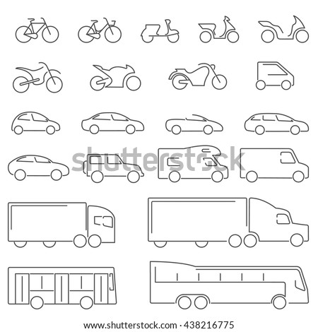 Flat Line icons - Transportation Vehicles Icons. Complete set of icons flat line on a white background with all means of road transport.  - stock vector