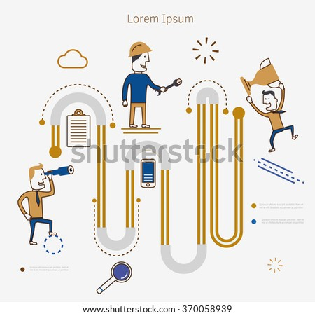 Flat line illustration of business project startup process - stock vector