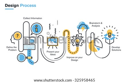 Flat line illustration of design process from defining the problem, through research, brainstorming and analysis to product development. Concept for web banners and printed materials. - stock vector