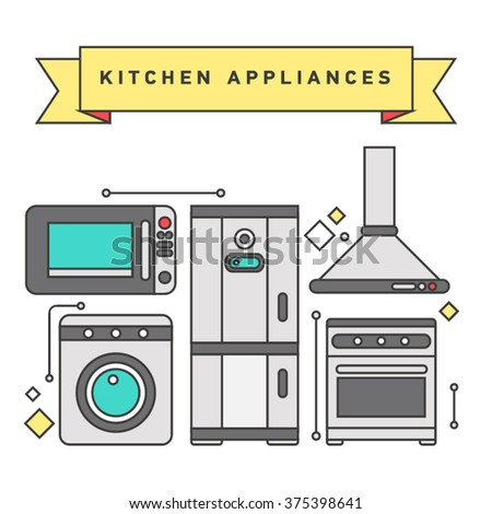 Flat line illustration of home, domestic appliances such as scales, lamp, vacuum cleaner, hair dryer, fan, iron. Smart home appliances, internet of things for consumer electronic. - stock vector
