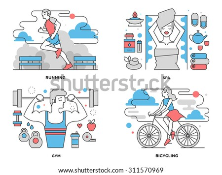 Flat line illustration set of healthy living activity, boy doing exercises in gym, girl cycling on bicycle in park, outdoor running workout. Modern design vector concept, isolated on white background. - stock vector