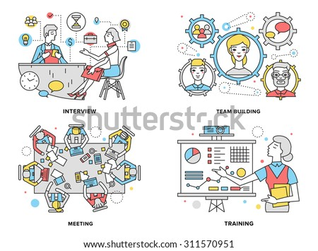 Flat line illustration set of human resources training progress, mentor coaching people for rise potential, business team building process. Modern design vector concept, isolated on white background. - stock vector