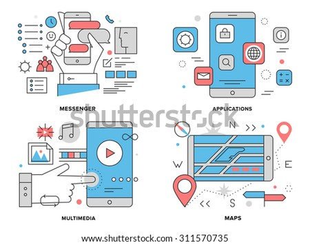 Flat line illustration set of various smartphone apps, mobile gps mapping navigation, phone chat  messenger, multimedia technology elements. Modern design vector concept, isolated on white background. - stock vector