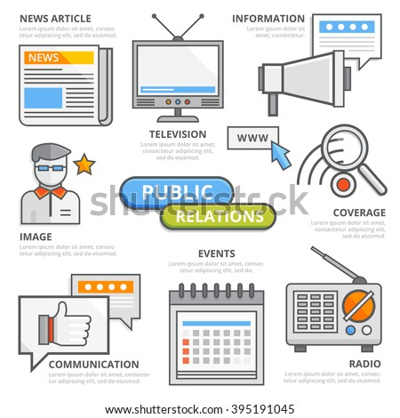 Flat line public relations business concept, news article, information, television, internet, social networks, image, communication, events, coverage, radio. PR design elements template for web, apps - stock vector