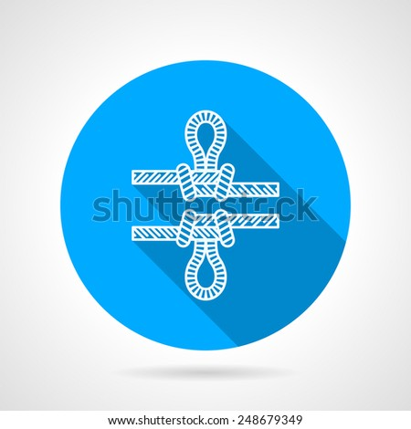 Flat line round blue icon with white two contour ropes with knots on gray background. Long shadow design - stock vector
