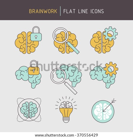 Flat line thinking brain icons of problem solving, ideas searching, achieving, creativity, strategic planning and learning. - stock vector