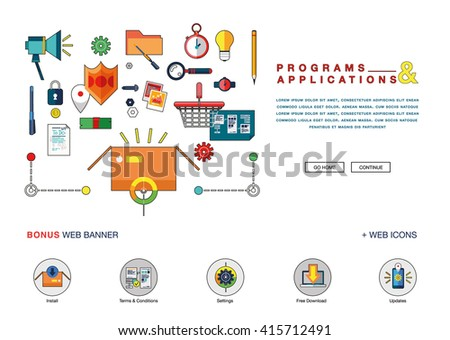 Flat Colorful Web Banner Template Design Stock Vector 387282472 ...