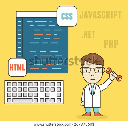 Flat linear concept of programmer or coder workflow for website coding and html programming of web application - vector illustration - stock vector