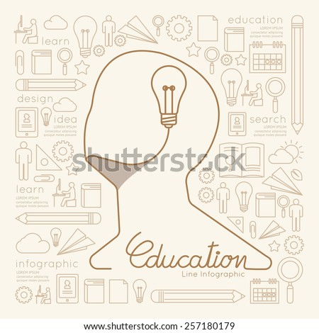 Flat linear Infographic Education Man Creative Thinking with Light bulb Outline concept.Vector Illustration.  - stock vector