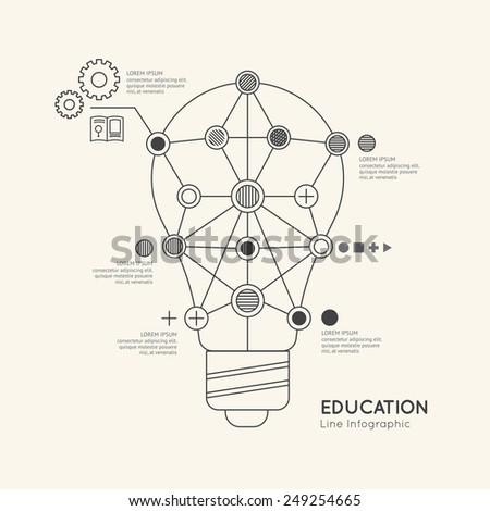 Flat linear Infographic Education Outline lightbulb Concept.Vector Illustration. - stock vector