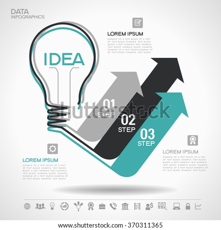 Flat linear infographic lamp ideas and arrows. Growth Arrow Four Pieces Bulb Idea
