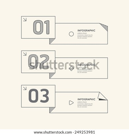 Flat linear Infographic Number Banner Outline Concept.Vector Illustration. - stock vector