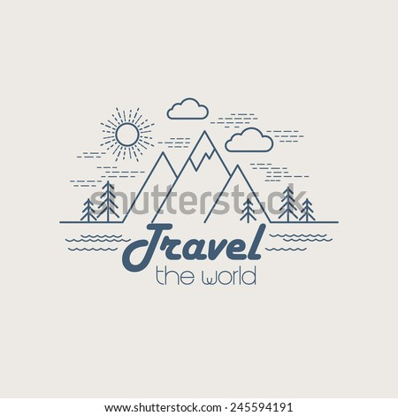 Flat linear landscape - stock vector