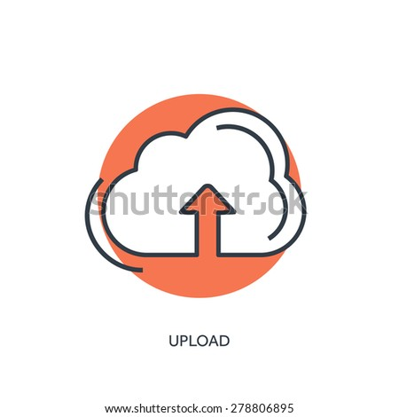 Flat lined cloud computing icon. Data storage. - stock vector