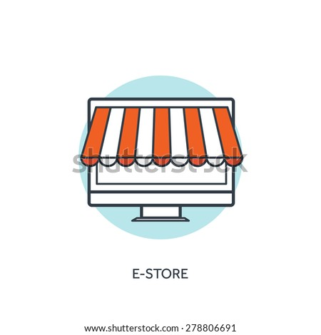 Flat lined e-store concept background with computer and internet shop. - stock vector