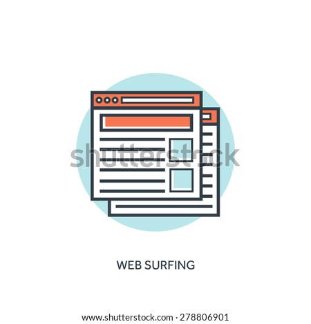 Flat lined web browser windows icon. Internet surfing. - stock vector