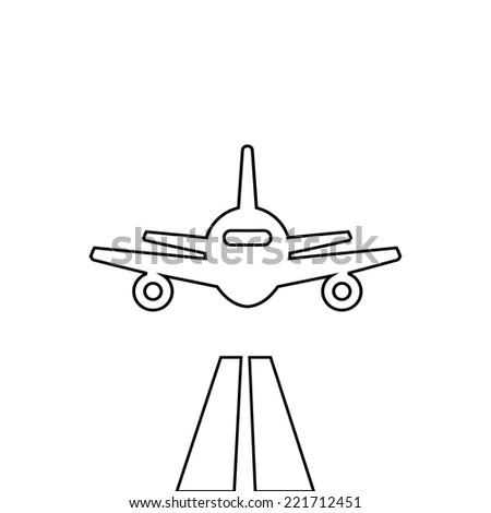 Flat lines plane illustration landing aircraft icon - stock vector