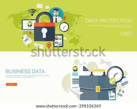 Flat lock. Data and information protection. Business portfolio and ideas. - stock vector