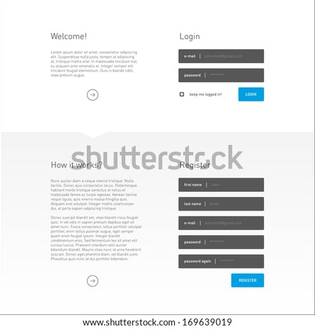 Flat Login and Registration Page Template / EPS10 Vector Illustration / - stock vector