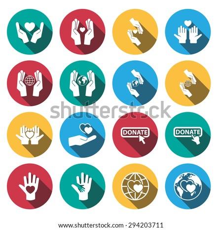 Flat long shadow charity icon set.vector. - stock vector