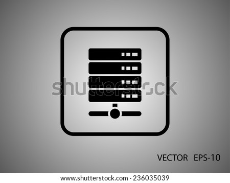 Flat long shadow Computer Server icon, vector illustration - stock vector