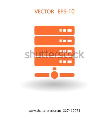 Flat long shadow Computer Server icon, vector illustration - stock vector
