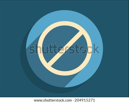 Flat long shadow icon of a prohibition - stock vector