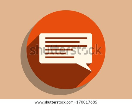 Flat long shadow icon of dialog - stock vector