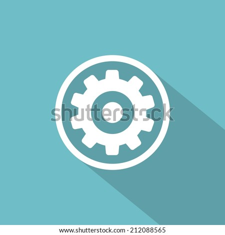 Flat long shadow icon of gears - stock vector
