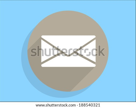 Flat long shadow icon of letter - stock vector