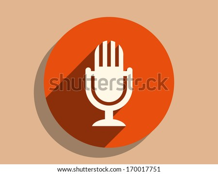 Flat long shadow icon of mic - stock vector